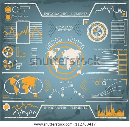 Hand drawn Info graphics set - stock vector
