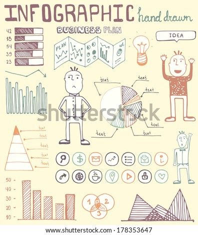 Hand drawn infographic elements. Easy editable vector file with charts, graphics and icons. - stock vector