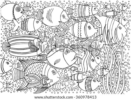 Hand drawn ink background with many fishes in the water. Sea life design for relax and meditation. Vector pattern black and white illustration can be used for coloring book pages for kids and adults.  - stock vector