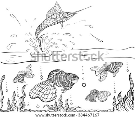 Hand drawn ink pattern. Coloring book Coloring for adult Ocean, fish sword and fishes - stock vector