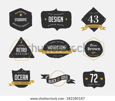 hand drawn, inked hipster vintage retro labels and logo - stock vector