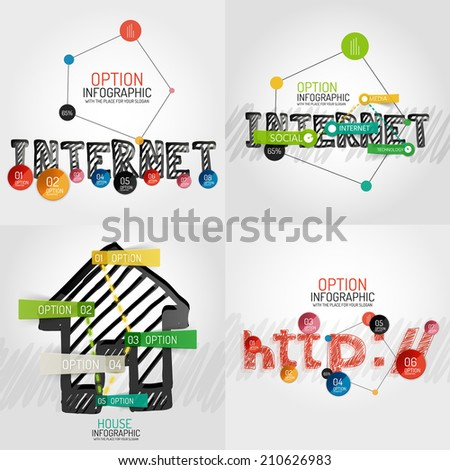 Hand drawn internet concepts and stickers with options. Unusual abstract infographic collection - internet word and connected circles diagram, home icon with sticky notes and http - stock vector