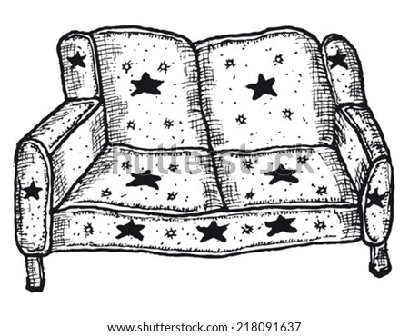 Hand drawn isolated sofa/ Illustration of a doodle hand drawn sketched isolated sofa on white background - stock vector