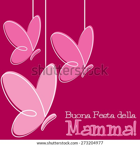 Hand Drawn Italian Happy Mother's Day card in vector format. - stock vector