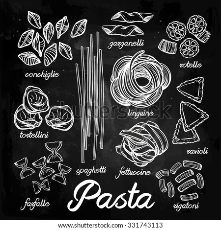 Hand drawn Italian pasta set. Collection of different types of pasta. Retro line art vector illustration. - stock vector