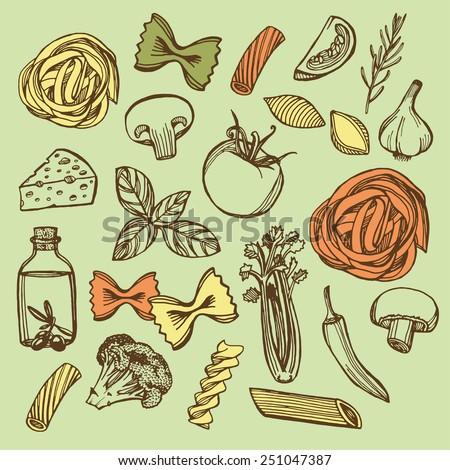 Hand drawn Italian pasta set. Colorful pasta, cheese, broccoli, garlic, chili pepper, rosemary, celery, olive oil, basil, champignon, tomato - stock vector