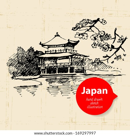 Hand drawn Japanese illustration. Sketch background - stock vector