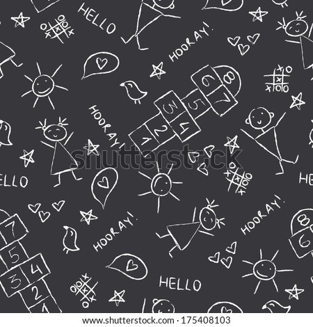 Hand Drawn kids Vector illustration, Vintage Blackboard Texture Background with chalk drawings.  - stock vector