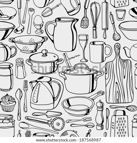 Hand-drawn kitchen tools seamless pattern - stock vector