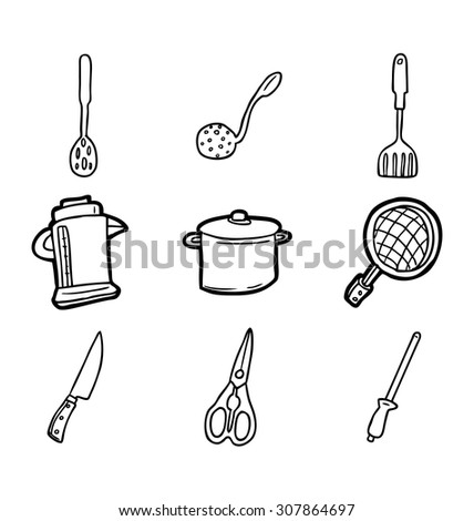 hand drawn kitchen utensil icons - stock vector