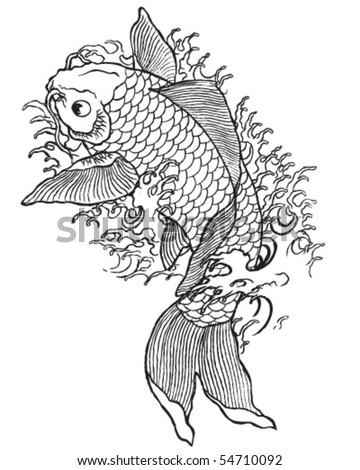 Hand Drawn Koi Fish Stock Vector