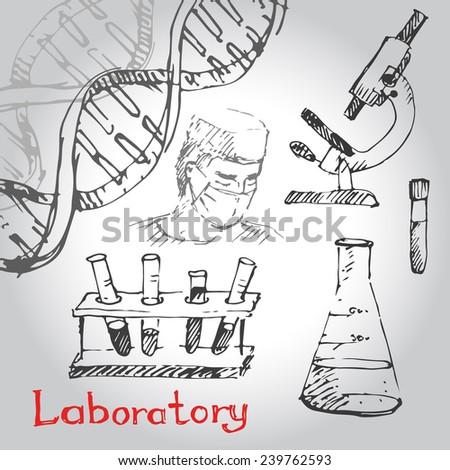 Hand drawn laboratory icons sketch. Vector illustration. - stock vector