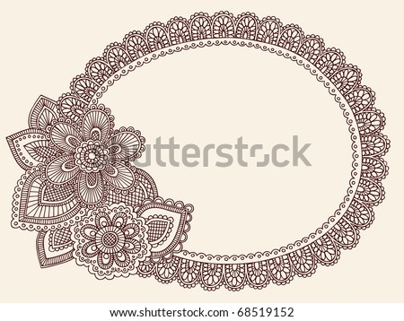 Hand-Drawn Lace Doilie Henna/Mehndi Paisley Flower Doodle Vector Illustration Frame Border Design Element - stock vector