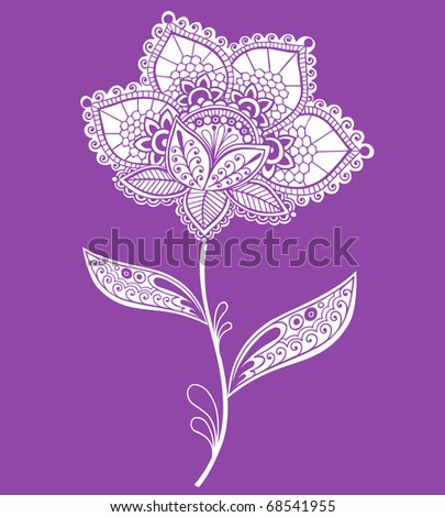 Hand-Drawn Lace Doily Henna / Mehndi Doodle- Paisley Flower Vector Illustration Design Element - stock vector