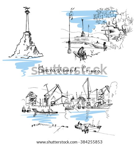 Hand drawn landscapes with seaside view, Sevastopol, harbor. Crimea. Travels. Tourism. - stock vector