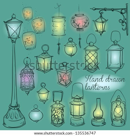 Hand drawn lanterns collection - stock vector