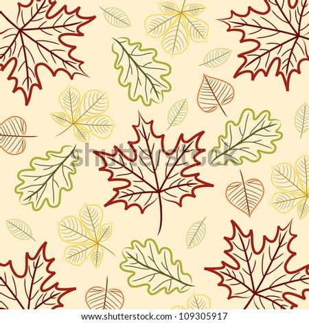 Hand drawn leaf Thanksgiving/Autumn card in vector format. - stock vector
