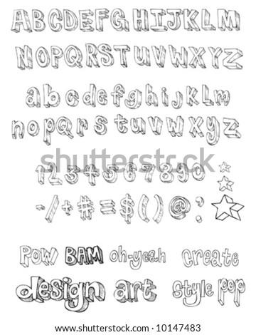 hand drawn letter vector set - stock vector