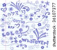 Hand-Drawn Lettering and Sketchy Doodles on Lined Notebook Paper Vector - stock vector
