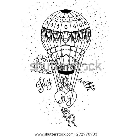 Hand drawn lettering poster. Fly With My Love - inspirational quote. Vector hand drawn typography design for T-shirt design,home decor element or other product. - stock vector