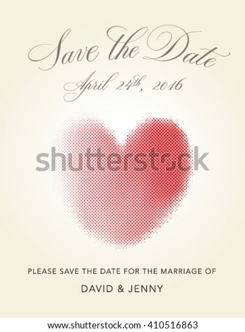Hand drawn lettering Save the date with halftone hearts - stock vector