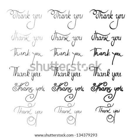 "Hand Drawn Lettering - ""Thank You"" - Set - Isolated On White - Gray Background - Vector Illustration, Graphic Design Editable For Your Design.  Thanks Lettering. Lettering Logo - stock vector"