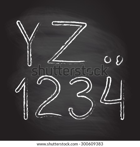 Hand drawn letters and numbers isolated on blackboard texture with chalk rubbed background. Vector illustration of alphabet. - stock vector