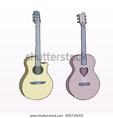 Hand drawn line acoustic classic guitar. Colorful pink and yellow guitar instrument - stock vector