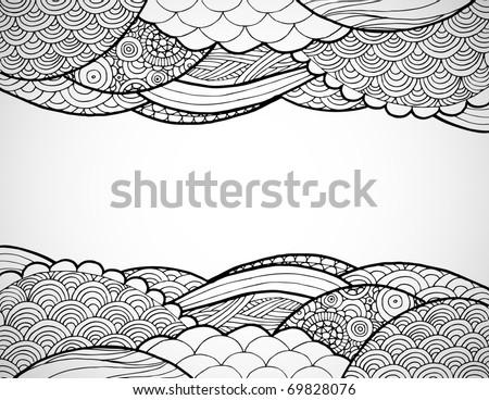 Hand drawn line art frame. - stock vector