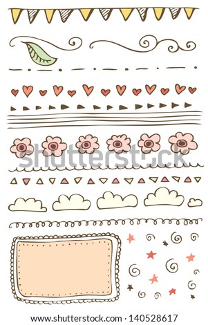 Hand-drawn line border set - stock vector