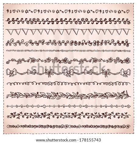 Hand-drawn line dividers and design elements set. - stock vector