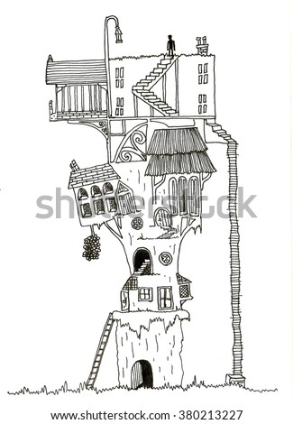Hand drawn line drawing of enchanted fantasy style tree house - stock vector