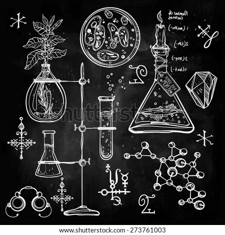 Hand drawn linear laboratory icons. Vector illustration. Vintage lab set. Science objects doodle style sketch. Back to school. Alchemy  occult chemistry geology, biology, medicine Chalk on blackboard. - stock vector
