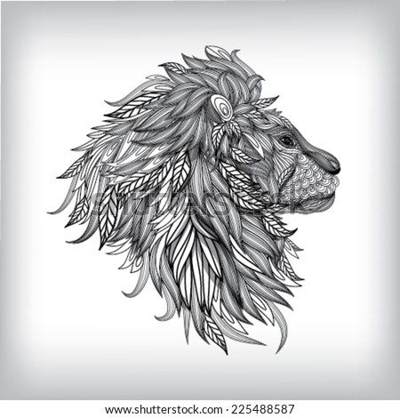 Hand Drawn Lion Illustration, Vector background EPS10 - stock vector