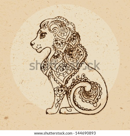 Hand drawn lion with elements of the ornament in ethnic style. Zodiac sign - Leo. Vector illustration. - stock vector
