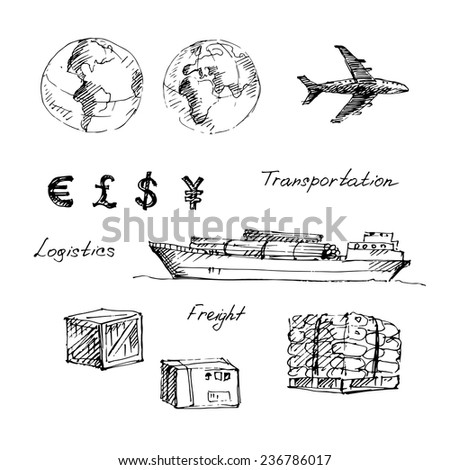 Hand drawn logistics and transportation sketch icons set on white background. Vector illustration - stock vector