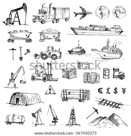Hand drawn logistics, resource mining, industry and delivery sketch set. Vector illustration. - stock vector