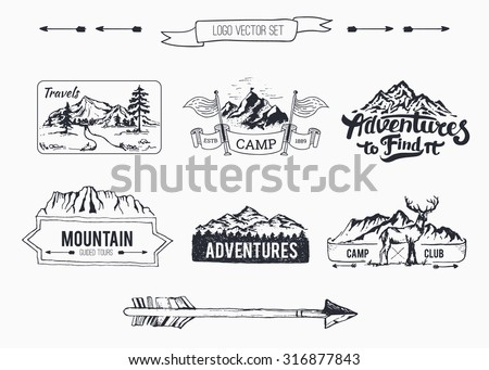 Hand-Drawn logo set collection  Retro set label of outdoor company, camping, wilderness adventure. Old style elements, mountain, lettering, ribbon banner - stock vector