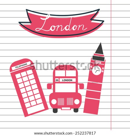 Hand drawn London, London card, United Kingdom stereotypes - stock vector