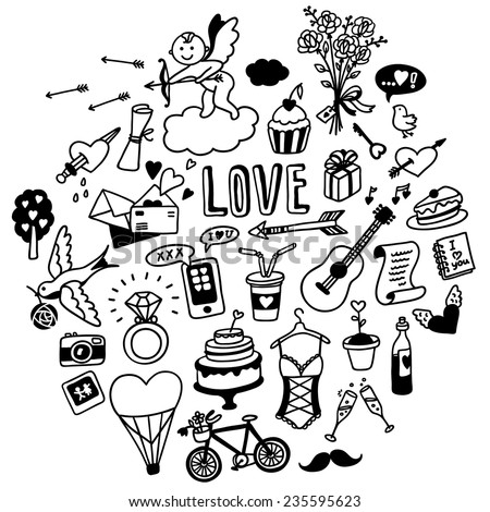 hand-drawn love doodles - stock vector