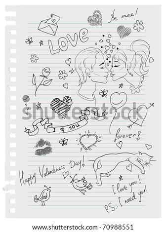 Hand-drawn love doodles - stock vector