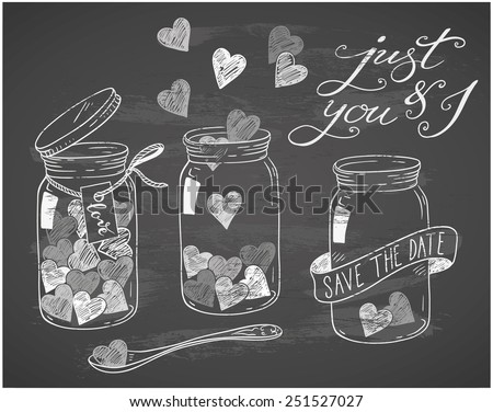 hand-drawn love doodles on chalkboard - stock vector