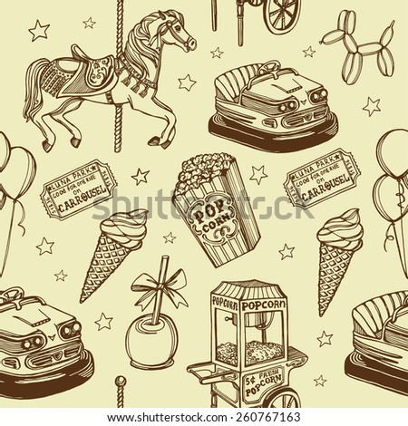 Hand drawn luna park vintage seamless pattern. Carousel horse, pop corn, balloon dog, candy apple, ice cream, carousel tickets, air balloons, bumper car, popcorn machine.  - stock vector