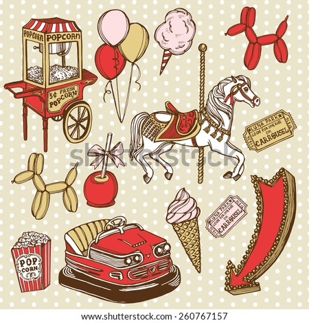 Hand drawn luna park vintage set. Carousel horse, pop corn, balloon dog, candy apple, ice cream, amusement park tickets, air balloons, bumper car, popcorn machine. Polka dot background - stock vector
