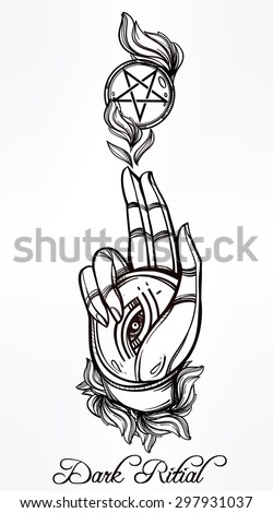 Hand drawn magic hand, with Eye of Providence in flames of fire . Dark alchemy ritual with reverse pentagram. Isolated vector illustration. Alchemy, religion, spirituality, occult magic. Tattoo art. - stock vector