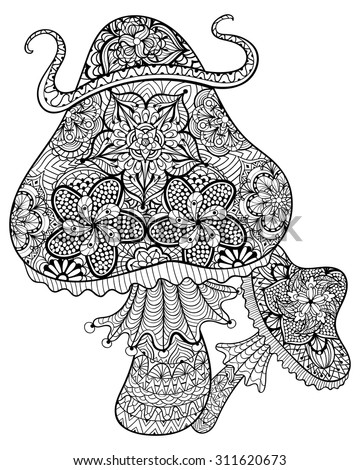 Hand drawn magic mushrooms  for adult anti stress Coloring Page with high details isolated on white background, illustration in zentangle style. Vector monochrome sketch. Nature collection. - stock vector
