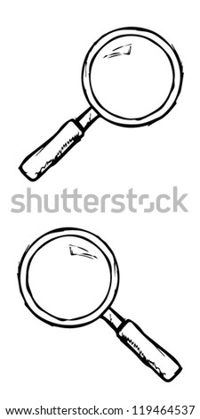 Hand drawn magnifier pattern - stock vector