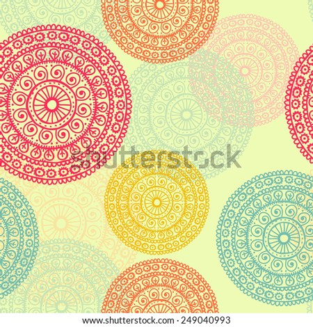 Hand drawn mandala seamless pattern in retro tones. All objects are conveniently grouped  and are easily editable. - stock vector