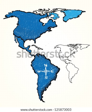 Hand drawn map of the America - stock vector