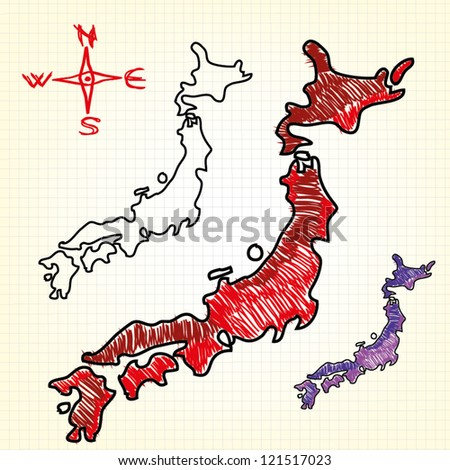 Hand drawn map of the Japan - stock vector
